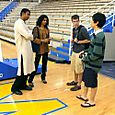 Talking coutside at Carmel High School