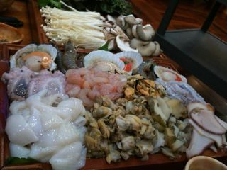 Raw seafood and veggies